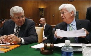 Mike Enzi and Chris Dodd - what troopers. Look at the size of that bill!